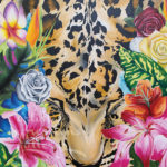 """Leopard in the Tropics""30""x30""Siana Treece $850.00 $425 - 50% off"